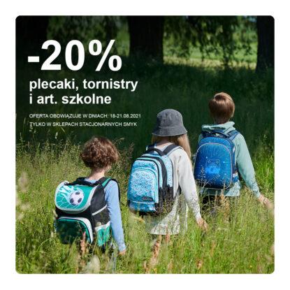 – 20% plecaki, tornistry i art. szkolne